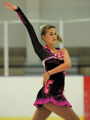 Mia Roberts of Millsboro practices figure skating at the Centre Ice Rink in Harrington. Mia hopes to one day compete in the Olympics.