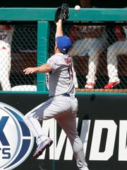 New York Mets right fielder Jay Bruce is unable to catch a double by St. Louis Cardinals' Paul DeJong during the fifth inning of a baseball game Saturday, July 8, 2017, in St. Louis.