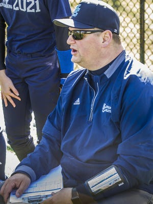 Morris Catholic head softball coach Nick DeGennaro at the softball scrimmage between Pope John and Morris Catholic High Schools in Denville, March 26, 2018. Photo by Warren Westura For the Daily Record.