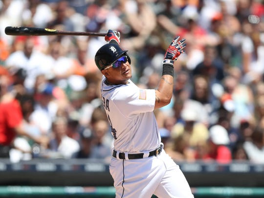 Detroit Tigers Miguel Cabrera bats against the San Francisco Giants Matt Cain during first inning action Tuesday, July 4, 2017 at Comerica Park in Detroit, MI.  Kirthmon F. Dozier/Detroit Free Press