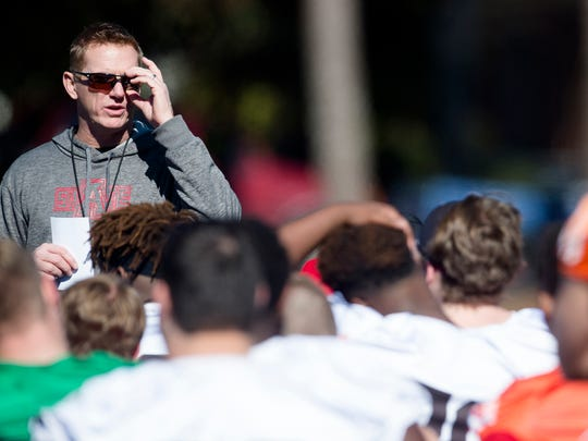 Arkansas State head coach Blake Anderson speaks to players during practice on Wednesday, Dec. 13, 2017, in Montgomery, Ala., for the Camellia Bowl.