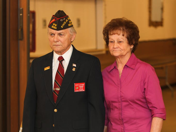 Brick, NJ - Connie Hoffman and his wife Pat enter the presentation ceremony at the Homecoming for Junior Vice Commander Connie Hoffman at VFW Post 8867.