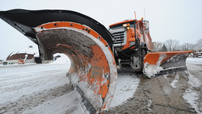 A snow plow at the county highway department.