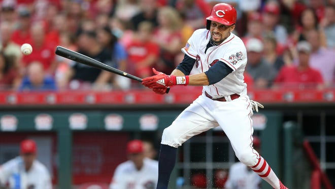 Cincinnati Reds center fielder Billy Hamilton (6) hits into a fielder's choice in the fourth inning during an interleague baseball game between the Chicago White Sox and the Cincinnati Reds, Tuesday, July 3, 2018, at Great American Ball Park in Cincinnati.