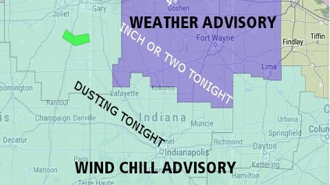 Weather advisories for central Indiana tonight and Thursday morning.