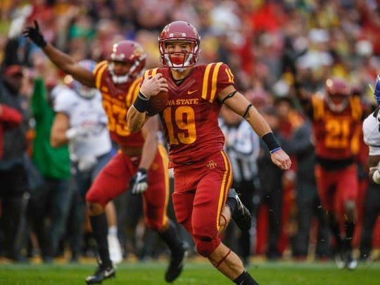 Iowa State punt returner Trever Ryen runs back a punt for a touchdown against Kansas at Jack Trice Stadium in Ames on Saturday, Oct. 14, 2017.