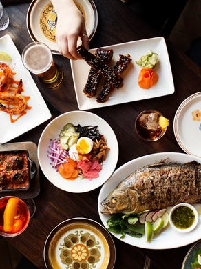 The rest of Young Joni's menu offers globally inspired small plates such as the bibim grain salad, Moroccan cauliflower with grilled shishito peppers, grilled blue prawns in a red chili fish sauce, and meatballs with kimchi and oxtail sugo. A whole fish, salt-encrusted and baked, makes a treat for the whole table.