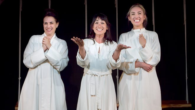 """Patricia Buckley, Kimiye Corwin and Liz Kimball star in in """"We 3,"""" the Franklin Stage Company's adaptation of Anton Chekhov's """"The Three Sisters"""" in which three actresses play the sisters and all the other characters."""