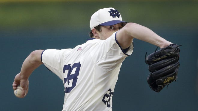 Notre Dame starting pitcher Michael Hearne (28) delivers a pitch in the first inning of their game against Indiana Tuesday at Victory Field in Indianapolis.