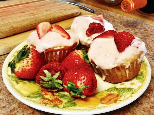 The Happy Baker's strawberry 4th of July cupcakes.