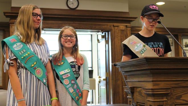 Megan Lewis, Samantha Hudson and Elizabeth Eastep present a proposal to the Cedar City Council on June 13, 2018.