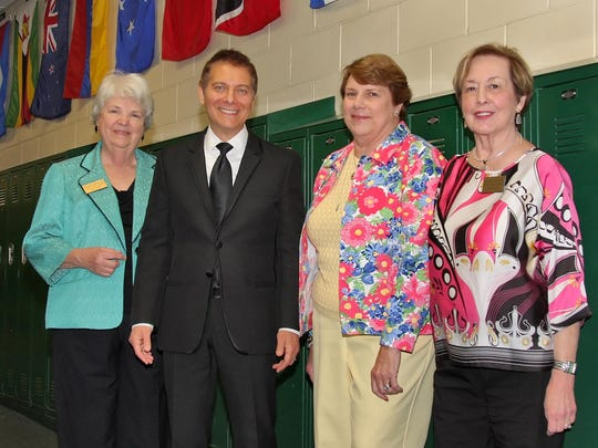 Montgomery Woman's ClubTown Hall board members, from left: Jane Caccamo, Judi LaFreniere and Nancy Rolfert appreciate a photo op with guest musician/pianist Michael Feinstein.