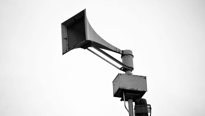 Black and white photo of a warning siren in San Angelo