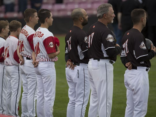 The Senateaires perform the National Anthem before the Salem-Keizer Volcanoes season opener as they faced the Tri-City Dust Devils at Volcanoes Field in Keizer Friday night, June 15, 2018. The Volcanoes went on to win their game.