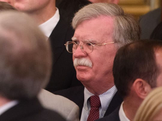 National Security Adviser John Bolton attends the ceremonial swearing-in of Secretary of State Mike Pompeo at the State Department May 2.
