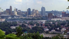 The view of downtown Cincinnati and the Ohio River