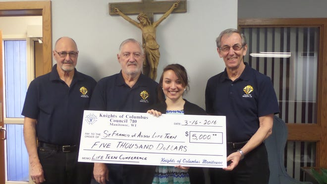 Because of the financial generosity of the Knights of Columbus, St. Francis of Assisi will send a group of students to the LifeTeen Leadership Conference. Pictured, from left, is past Grand Knight Len Gatien, financial secretary Jack Karch and Grand Knight Council 710 Knights of Columbus members Elizabeth Fritsch and Ron VonDrachek.