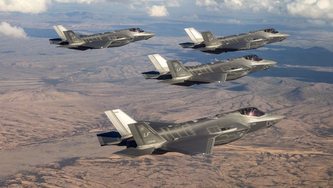 The Air Force named Davis-Monthan Air Force Base in Tucson one of four finalists to be a new permanent base for future F-35A Lightning II fighter jets. Shown here is a group of F-35s from Glendale's Luke Air Force Base.