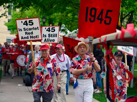 Alumni from 1945 march during the parade at the 2017 Rutgers Day on the College Avenue campus.