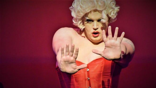 "Jackson Bailey stars as Ginger Vitus in the Endicott Performing Arts Center's burlesque show ""Taboo."""