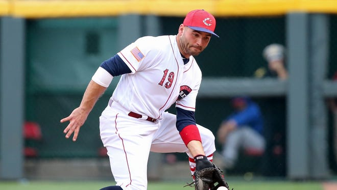 Cincinnati Reds first baseman Joey Votto (19) fields a groundball in the ninth inning during the National League baseball game between the Chicago Cubs and the Cincinnati Reds on July 1, 2017, at Great American Ball Park.