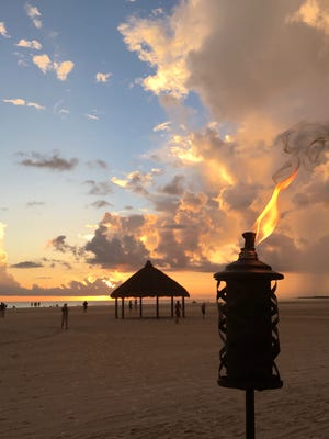 Beach sunset view from the Kane Tiki Bar at JW Marriott Marco Island.