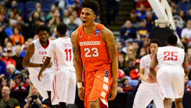 Syracuse Orange guard Malachi Richardson (23) reacts during the first half against the Dayton Flyers in the 2016 NCAA Tournament on March 18, 2016.