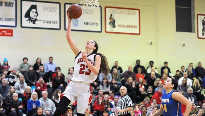 Homestead's Chloe Marotta lays the ball in as Germantown forward Olivia Verdin trails behind in February 2016.