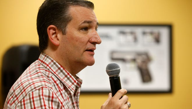 Republican Ted Cruz, a U.S. senator from Texas, speaks Saturday, June 20, 2015, at the CrossRoads Shooting Sports in Johnston.