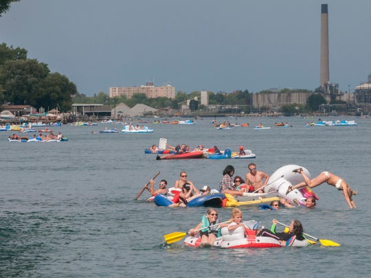 Floaters travel down the St. Clair River during floatdown Sunday, Aug. 21.
