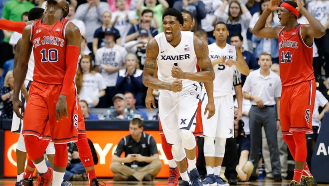 Xavier Musketeers forward Jalen Reynolds (1) cheers as the Musketeers come up with a turnover during the second half of the NCAA men's basketball game between the Xavier Musketeers and the St. John's Red Storm at the Cintas Center on the campus of Xavier University in Cincinnati on Wednesday, Feb. 3, 2016. The Musketeers rallied in the second half for a 90-83 finish over the Red Storm.