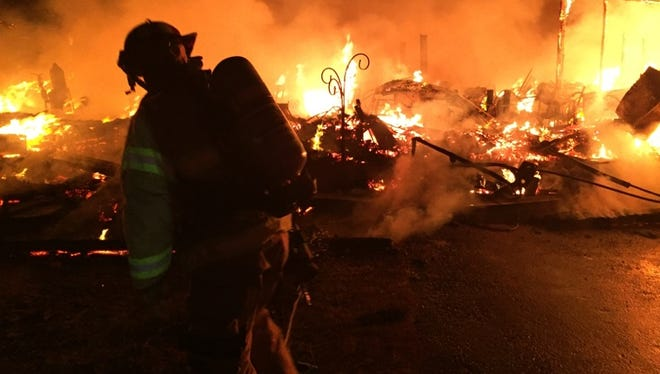 Central Kitsap Fire and Rescue provided this photo of a fire at a maintenance shed at Rolling Hills Golf Course in East Bremerton.
