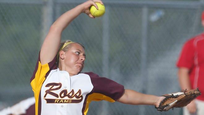 Ross High School starting pitcher Katie Carroll.