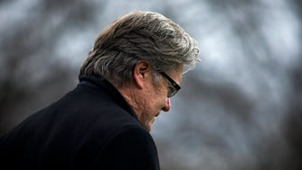 Steve Bannon, Assistant to the President and Chief Strategist to US President Donald J. Trump, follows the President and Japanese Prime Minister Shinzo Abe as they depart the White House for Florida after a press conference in the East Room of the White House in Washington, DC, USA, 10 February 2017.