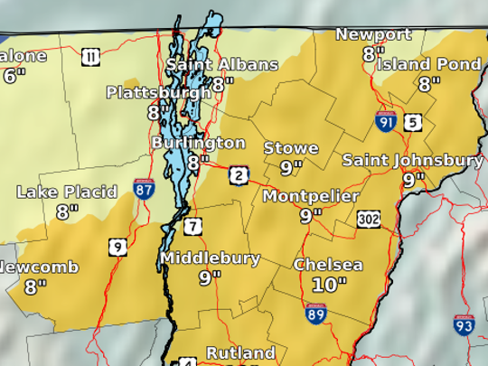 Snow accumulations of 7 - 9 inches are forecast in the Greater Burlington area for Wednesday, as seen in this map released Tuesday by the National Weather Service.