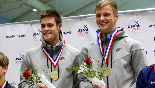 Steele Johnson and David Boudia received the gold medal for their diving during the synchronized men 10m platform event at the 2015 USA Diving Winter National Championship at the Natatorium at IUPUI on Dec. 16, 2015.