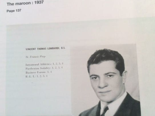 Page from Fordham University yearbook showing Vince