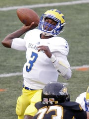 Delaware quarterback Joe Walker throws in the Blue Hens' 19-0 loss at Towson in 2015.