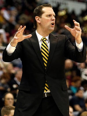Mar 7, 2017; Detroit, MI, USA; Northern Kentucky Norse head coach John Brannen reacts during the first half of the Horizon League Conference Tournament championship game against the Milwaukee Panthers at Joe Louis Arena. Mandatory Credit: Raj Mehta-USA TODAY Sports