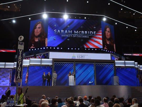 Sarah McBride speaks during the Democratic National Convention in Philadelphia Thursday.