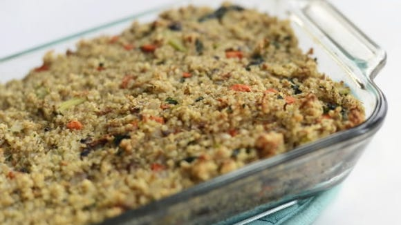Quinoa Stuffing packs fiber and protein for just 164 calories per serving. (Daily Record/Sunday News -- Kate Penn)