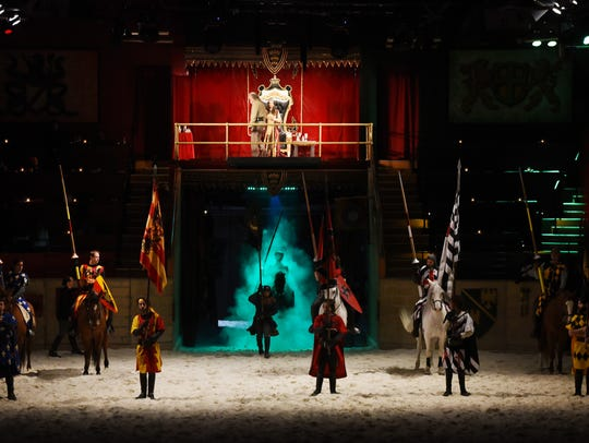 General scene during the rehearsal at Medieval Times