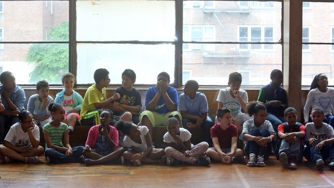 Students in the gym/cafeteria at the Museum School 25 in Yonkers last June.