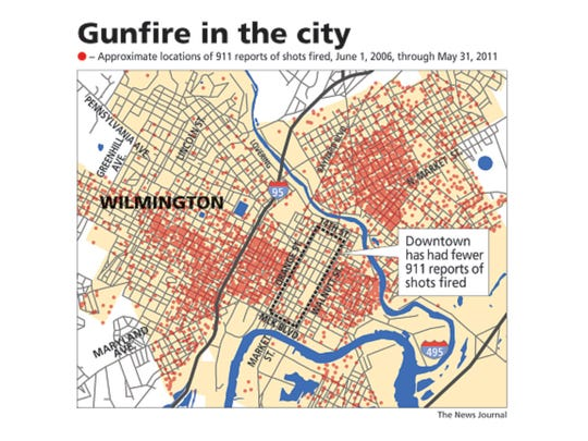Map showing reports of gunfire in Wilmington from June 1, 2006 through May 31, 2011