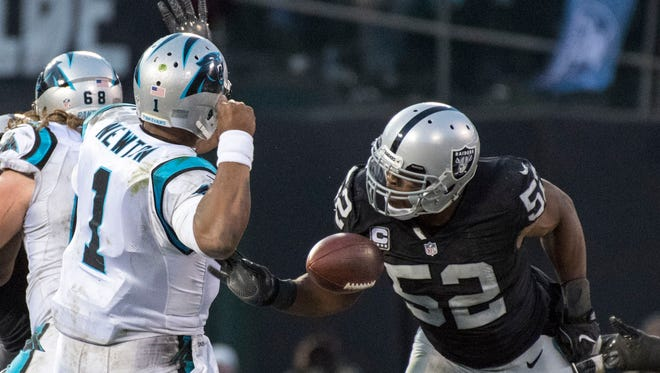 Khalil Mack stripped Cam Newton of the ball last week to preserve the Raiders. 35-32 victory. Mack won the AFC's defensive player of the week award.