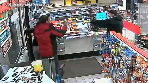 Police are looking for a man who held up a Washington Township gas station.