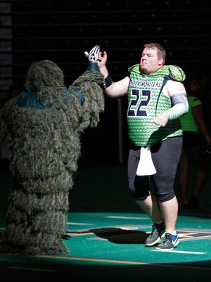 Jared Lorenzen is introduced before his final game with the Northern Kentucky River Monsters.