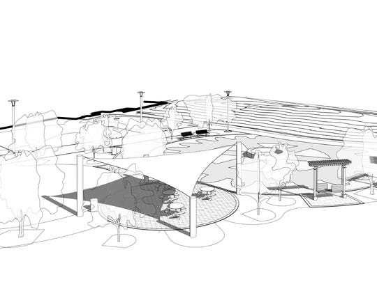 A rendering of the $600,000 Rotary Centennial Playground, now under construction at Community Maritime Park.