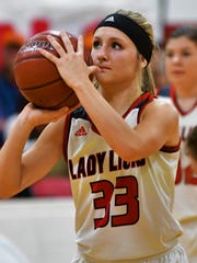 Roby's Hallie Rose Edmondson takes a free throw during a game in 2018. Edmondson will make the short trip to Abilene next year to play at Hardin-Simmons University.