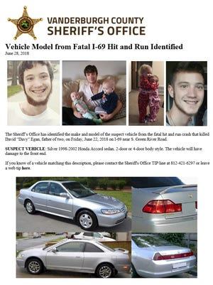 This flier from the Vanderburgh County Sheriff's Office names the make and model of the vehicle that struck and killed Davy Egan on June 22 on I-69 near South Green River Road.